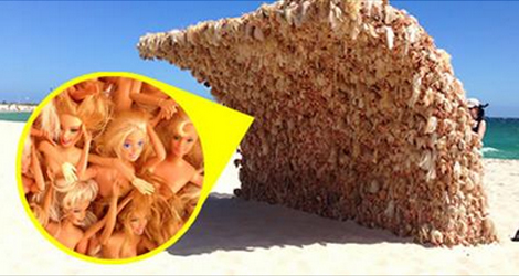 A 10ft Barbie Wall Was Spotted On The Beach In Australia