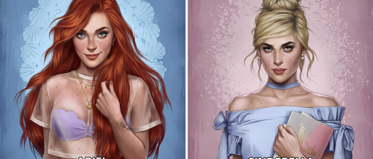 Disney Princesses Characters As Modern Day Girls Living In 2017