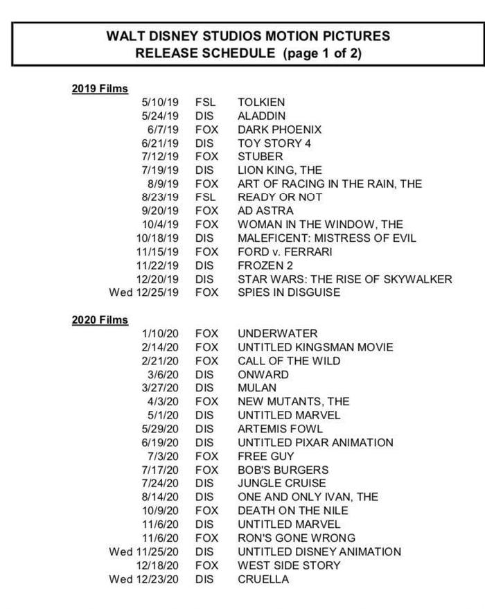 Disney Announces 63 Movie Release Dates Till 2027